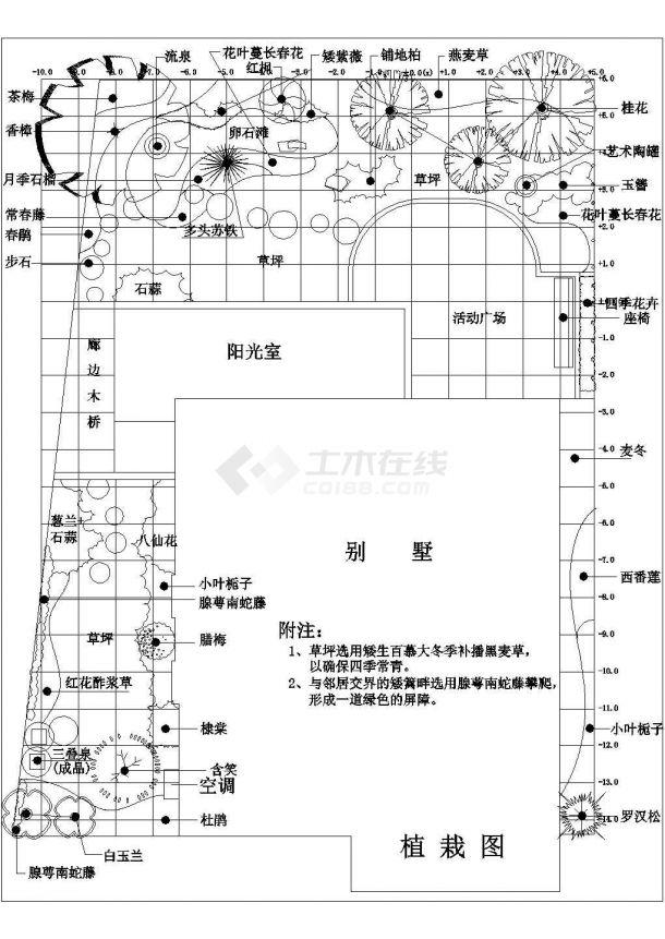 某现代风格别墅庭院景观绿化规划设计cad全套施工图-图二