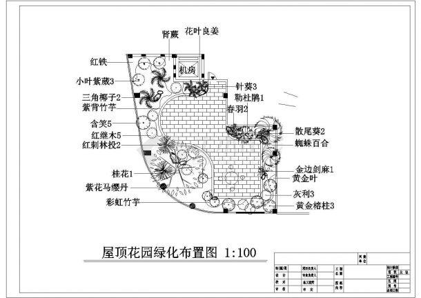 某现代豪华酒店七楼及屋顶花园绿化规划设计cad施工平面图-图二
