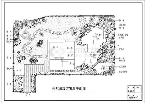 某现代豪华私人别墅景观绿化设计cad方案总平面图-图一