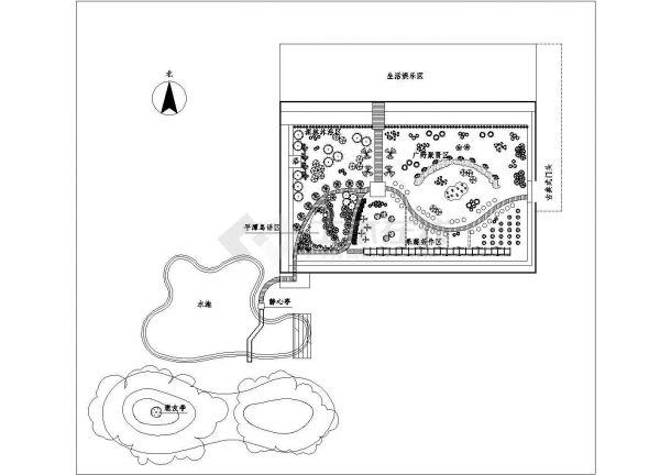 某温室及外围景观规划设计cad施工总平面图-图一