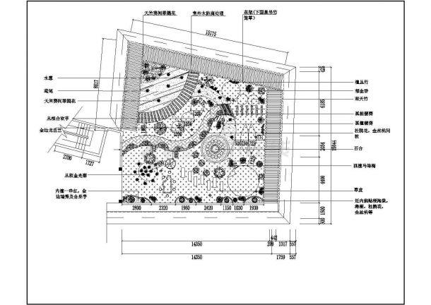 某多层住宅楼屋顶花园绿化规划设计cad平面方案图-图一