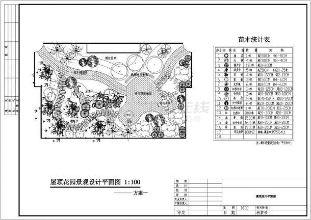 某多层住宅楼屋顶花园绿化景观设计cad施工平面图-图一
