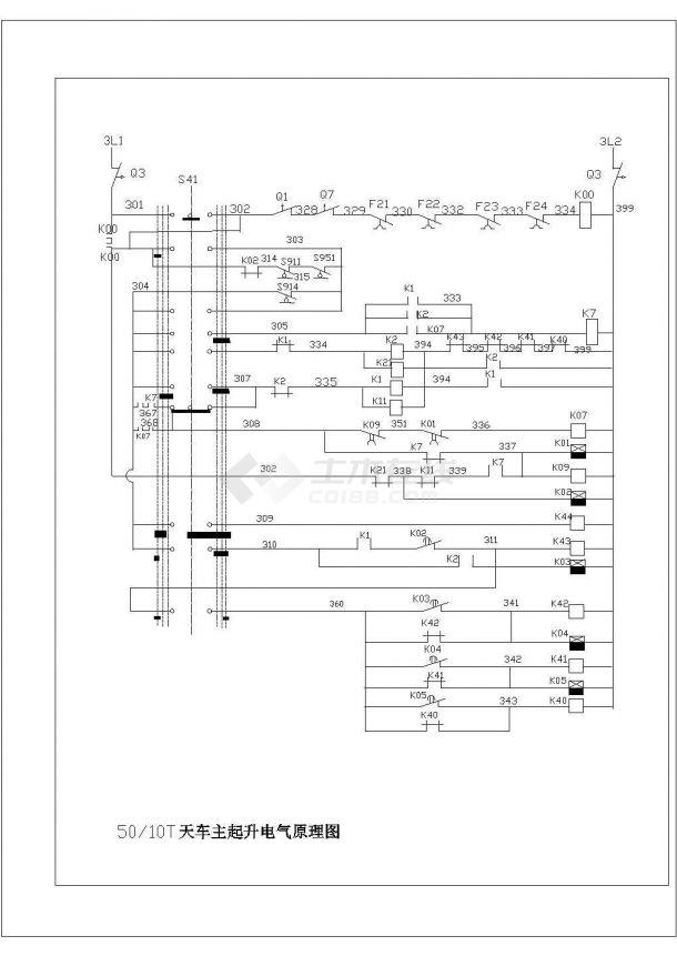 50—10T天车主起升电气原理图cad-图一