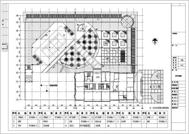某多层住宅楼屋顶花园绿化规划设计cad施工总平面图-图一