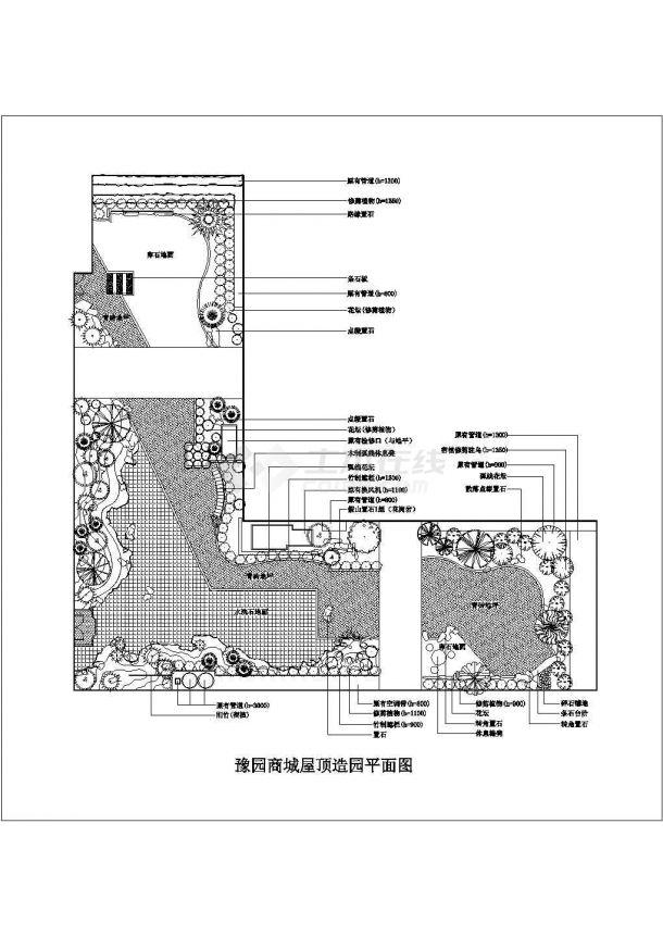 豫园商城(偏L型)屋顶造园绿化规划设计cad施工平面图-图一