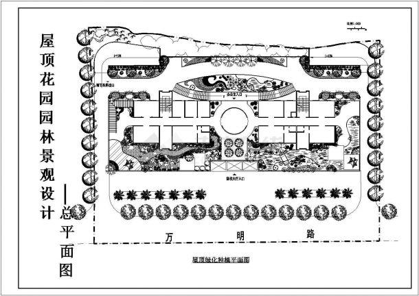 某征收大厅建筑屋顶花园园林景观设计cad施工总平面图-图二
