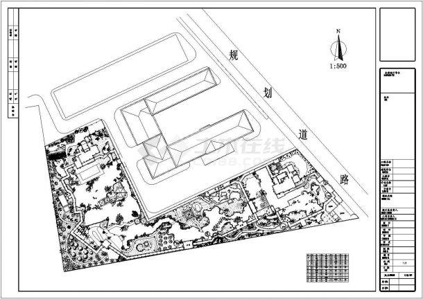 某别墅大庭院景观规划设计cad施工总平面图-图一