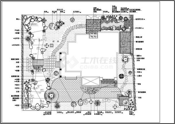 某高档别墅庭院景观绿化规划设计cad全套施工图-图一