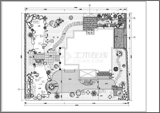 某高档别墅庭院景观绿化规划设计cad全套施工图-图二