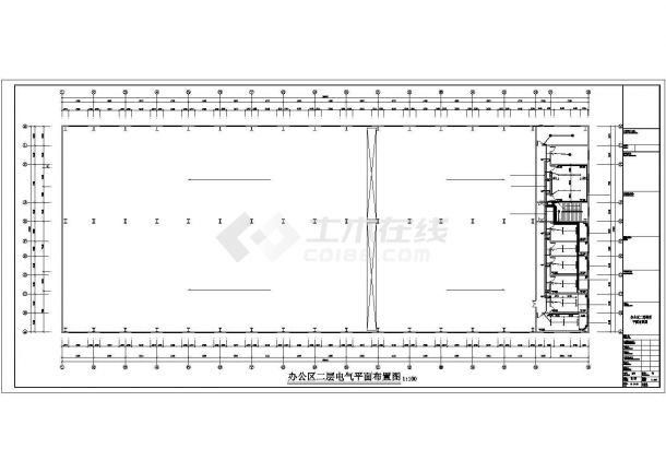 某二层厂房电气施工CAD参考图-图一