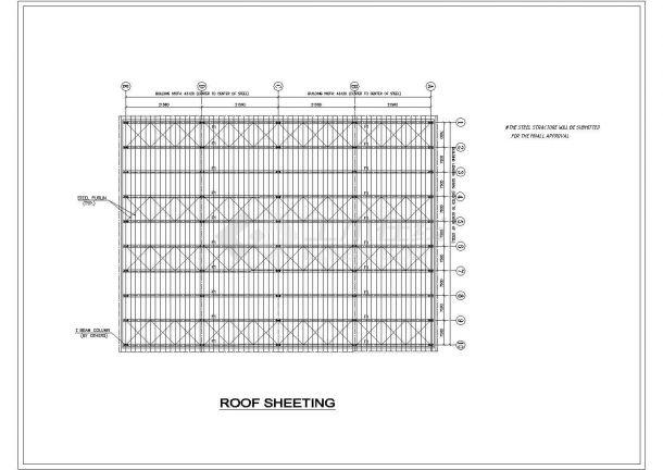 某单层砖混结构厂房设计cad建筑方案图纸(全英文标注)-图一