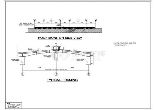 某单层砖混结构厂房设计cad建筑方案图纸(全英文标注)-图二