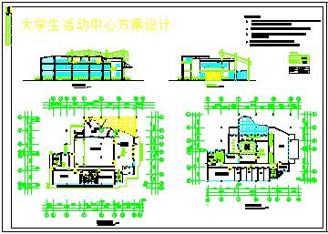 某大学活动中心建筑方案cad设计图-图一