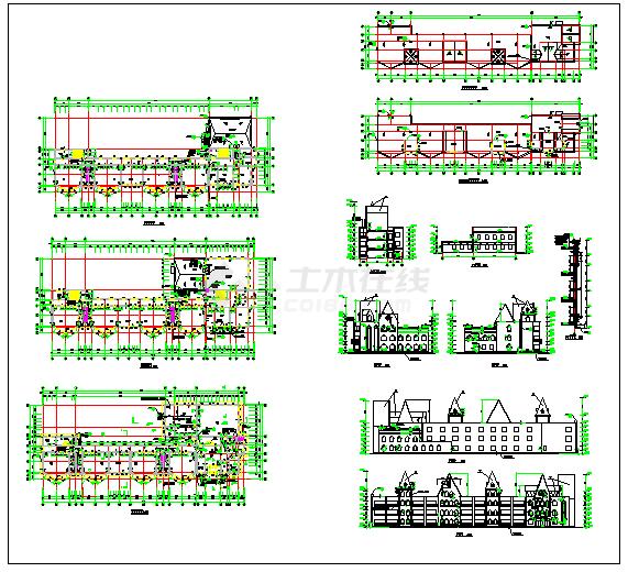 某3层幼儿园平面立剖面建筑设计cad施工图-图二
