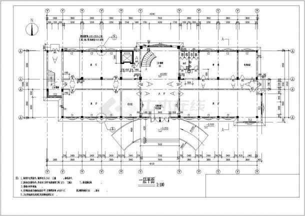 某多层框架结构办公楼设计cad全套建筑施工图(含结构设计)-图一
