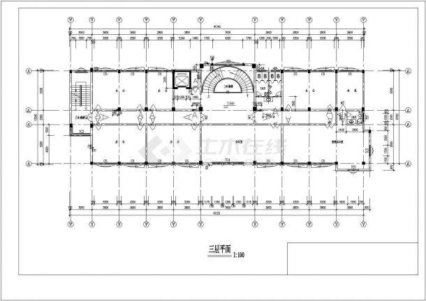 某多层框架结构办公楼设计cad全套建筑施工图(含结构设计)-图二