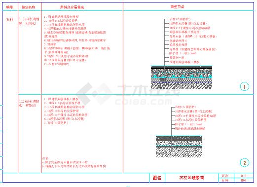 某室内装饰工程cad通用节点-地面节点详图-图一