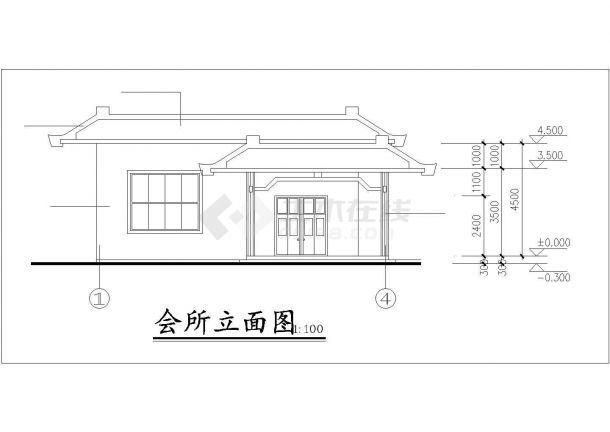 常州市欣和花园小区单层砖混结构休闲会所建筑设计CAD图纸-图二