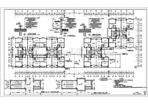 昆山市白马路某社区1.3万平米12层框架结构住宅楼全套建筑设计CAD图纸-图二