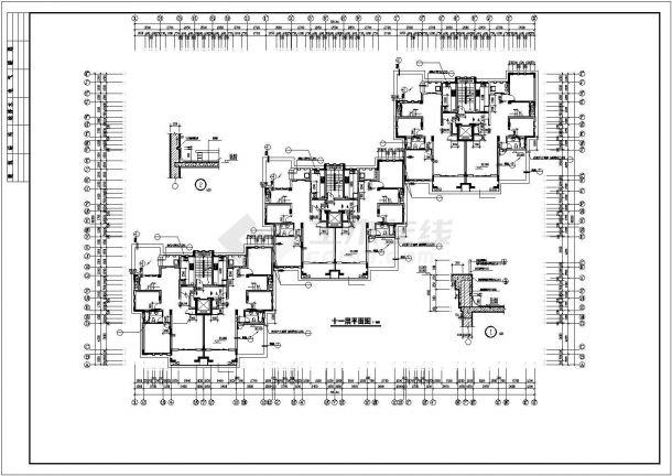 北京市某居住区9200平米12层框架结构住宅楼全套建筑设计CAD图纸-图二