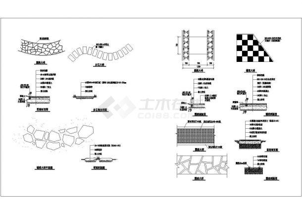 某园路步石图例CAD节点完整构造设计图-图一