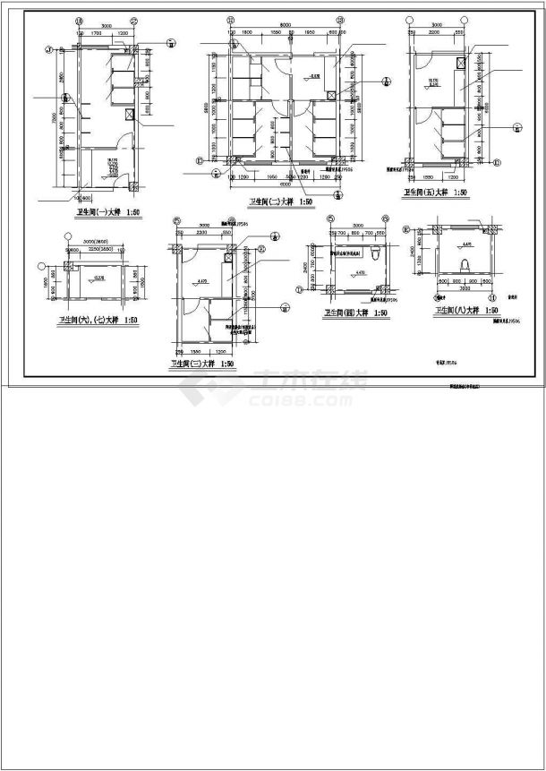 楼梯、电梯、卫生间大样cad图纸-图二