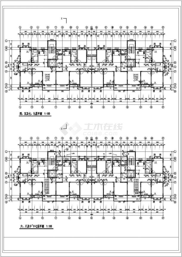 昆山某小区1.2万平米18层框架结构住宅楼建筑设计CAD图纸(含阁楼)-图二
