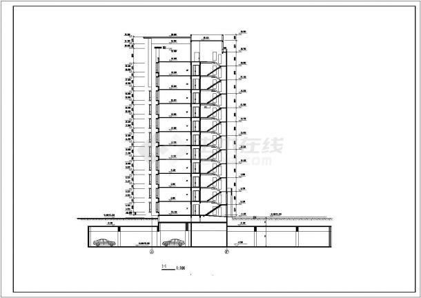 台州市惠阳北路某居住区11层框架结构住宅楼全套建筑设计CAD图纸-图二