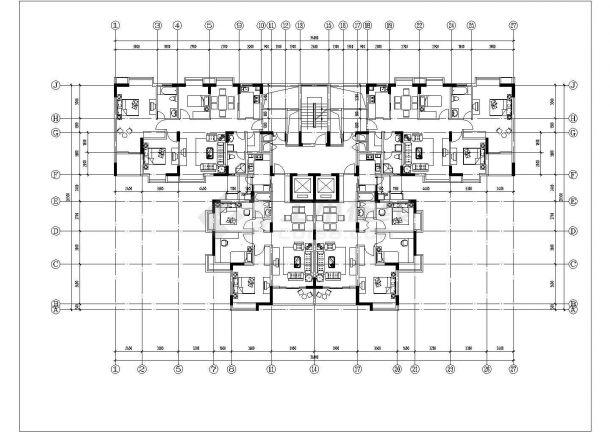 哈尔滨市江北路某居住区19层框架结构住宅楼平立面设计CAD图纸-图二
