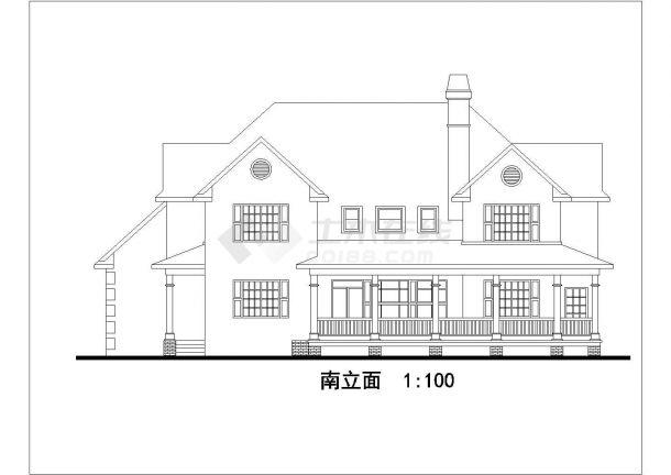 某地区特色别墅建筑方案设计施工CAD图纸-图一