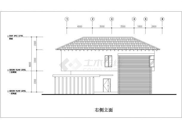 某地区完整别墅建筑方案设计施工CAD图纸-图二