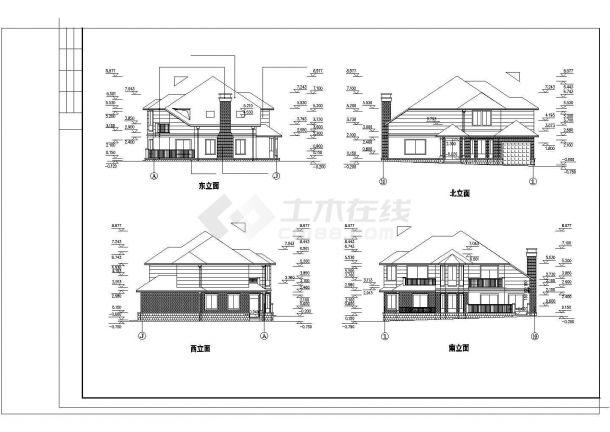 某地区现代度假别墅建筑方案设计施工CAD图纸-图一
