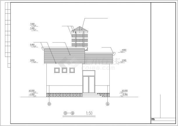 某地区多层小别墅建筑全套方案设计施工CAD图纸-图二
