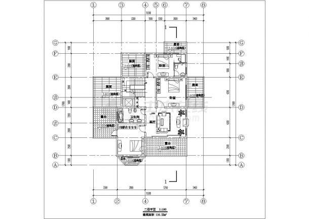 某地区多层小别墅建筑方案设计施工CAD图纸-图二