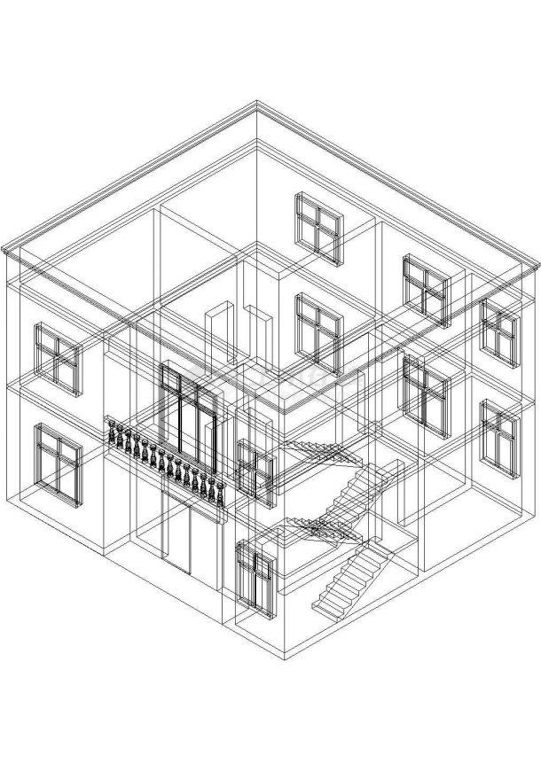 某地区现代小型别墅整体结构设计施工CAD图纸-图一