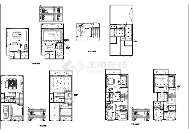某地区现代小型别墅建筑装修设计施工CAD图纸-图一