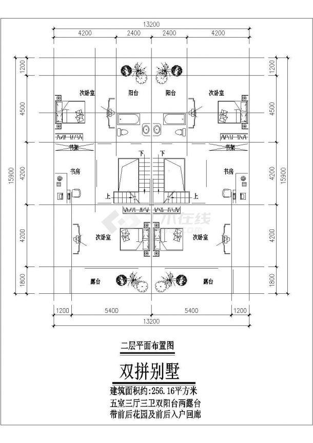 某地区小三层现代联拼别墅建筑设计施工CAD图纸-图一