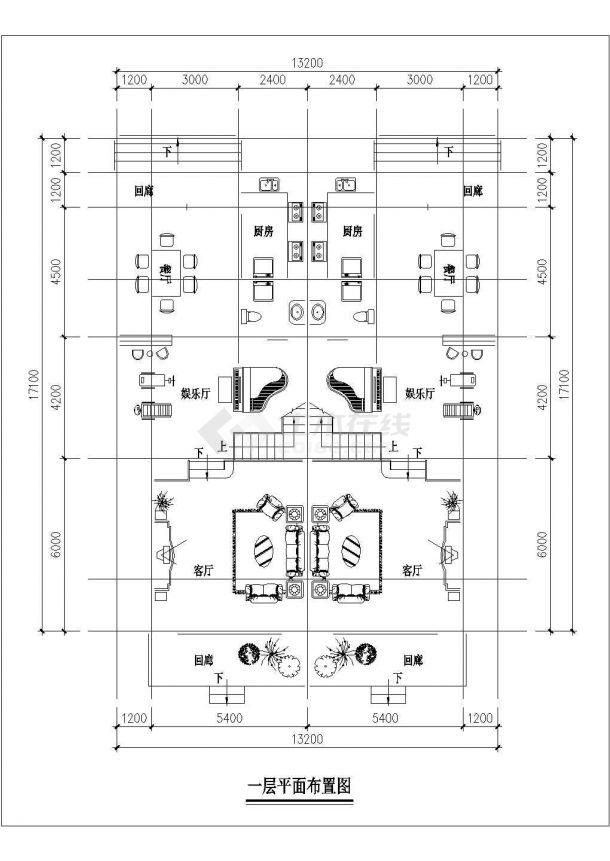某地区小三层现代联拼别墅建筑设计施工CAD图纸-图二