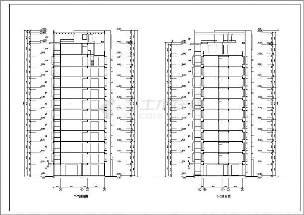 湖州市南兴路某居住区13层框架结构住宅楼全套建筑设计CAD图纸-图二