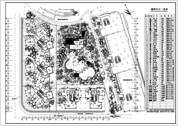 体育公寓绿化种植CAD平面图(含植物材料表)-图一