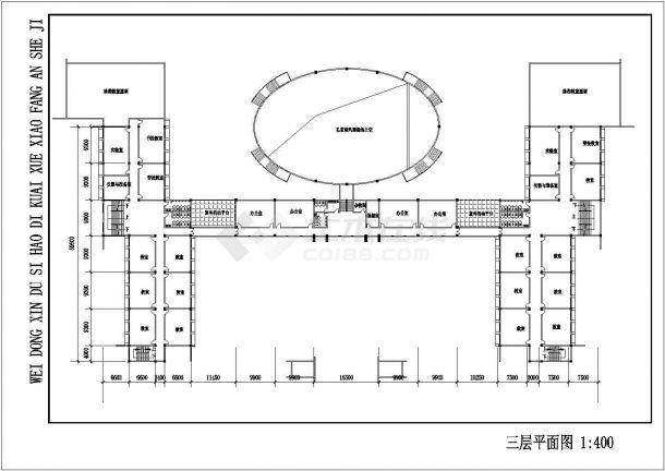 某地区十号地块新校区教学建筑工程设计cad图(含平立剖、总平面图)-图二