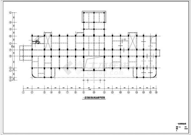六层医院门诊楼综合楼加固改造结构施工cad图,共三十张-图一