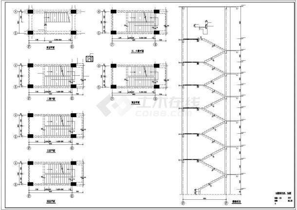六层医院门诊楼综合楼加固改造结构施工cad图,共三十张-图二