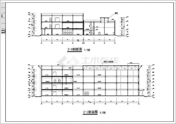 4层23228.36平米学校餐厅全套建筑施工设计cad图【平立剖 总平】-图一