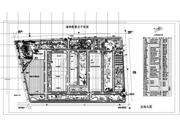 某地区厂区植物配置详细方案设计施工CAD图纸-图一