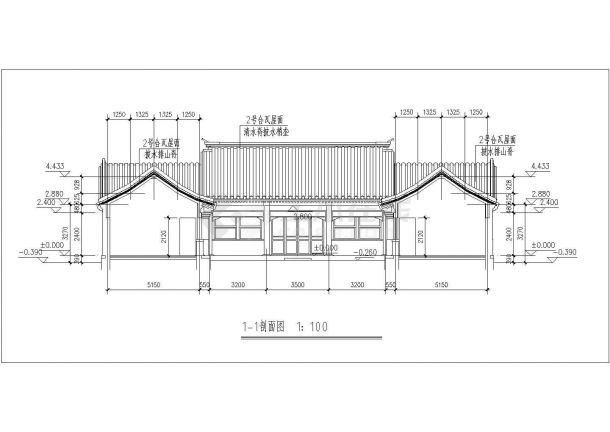 太原市某民居度假区单层砖混结构四合院式民居楼建筑设计CAD图纸-图一