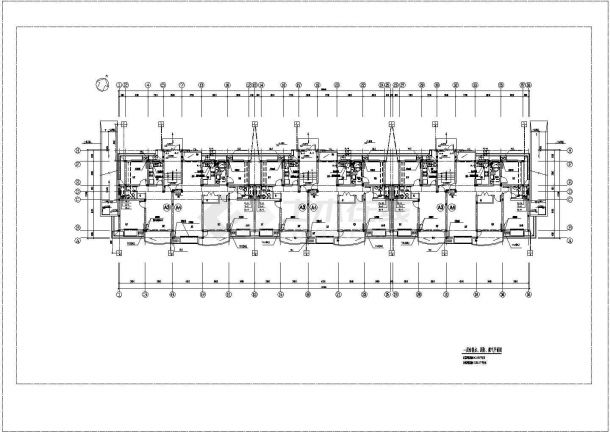 长57米 宽12.34米 -1+6层(1梯2户3单元)4128.57平住宅楼建筑设计施工图-图一