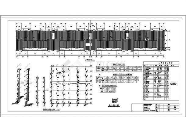 长91.9米 宽12.3米 1车库+7层(1梯2户4单元)住宅楼建筑设计施工图-图二