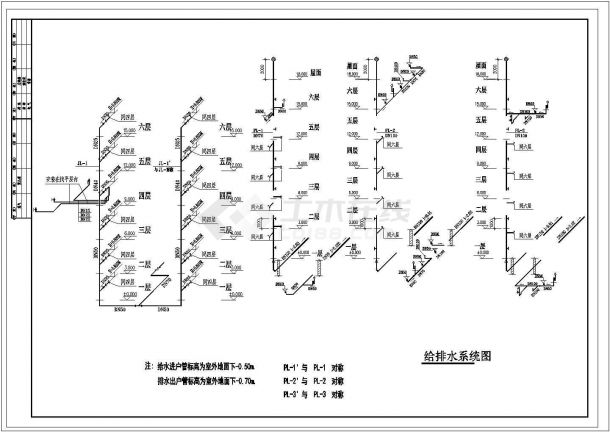 长45.6米 宽12.25米 6层(1梯2户2单元)住宅楼建筑设计施工图-图一