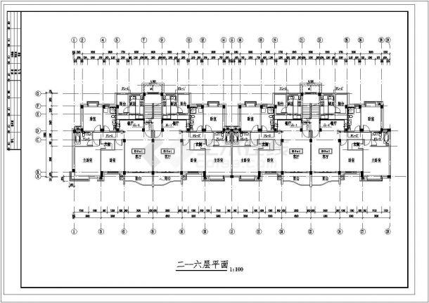 长45.6米 宽12.25米 6层(1梯2户2单元)住宅楼建筑设计施工图-图二